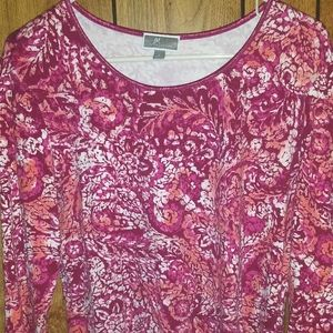 JM Collection long sleeve red floral size L
